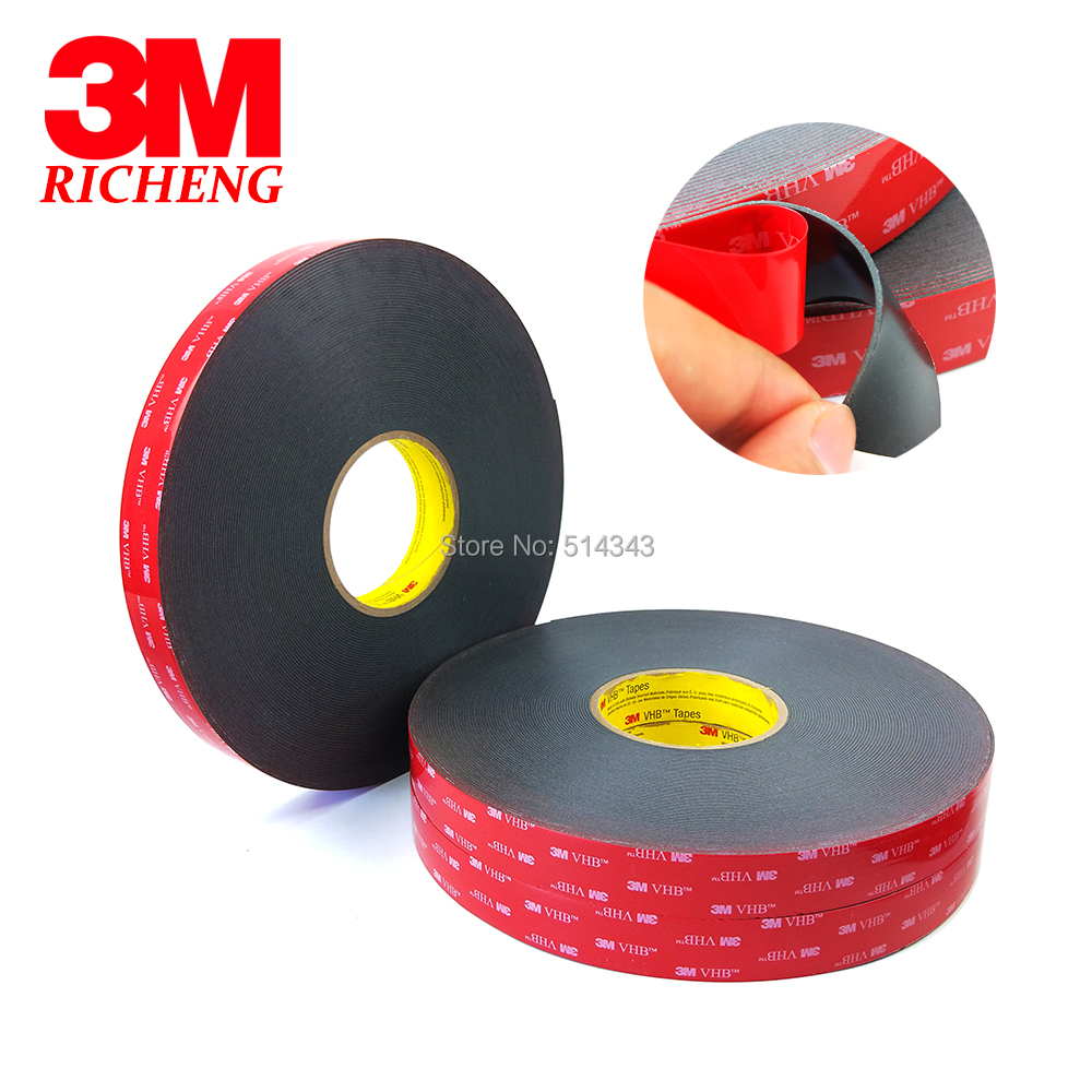 1Roll Lot 3M VHB 5952 Heavy Duty Double Sided Adhesive Acrylic Foam Tape Black 12MMx33Mx1 1MM