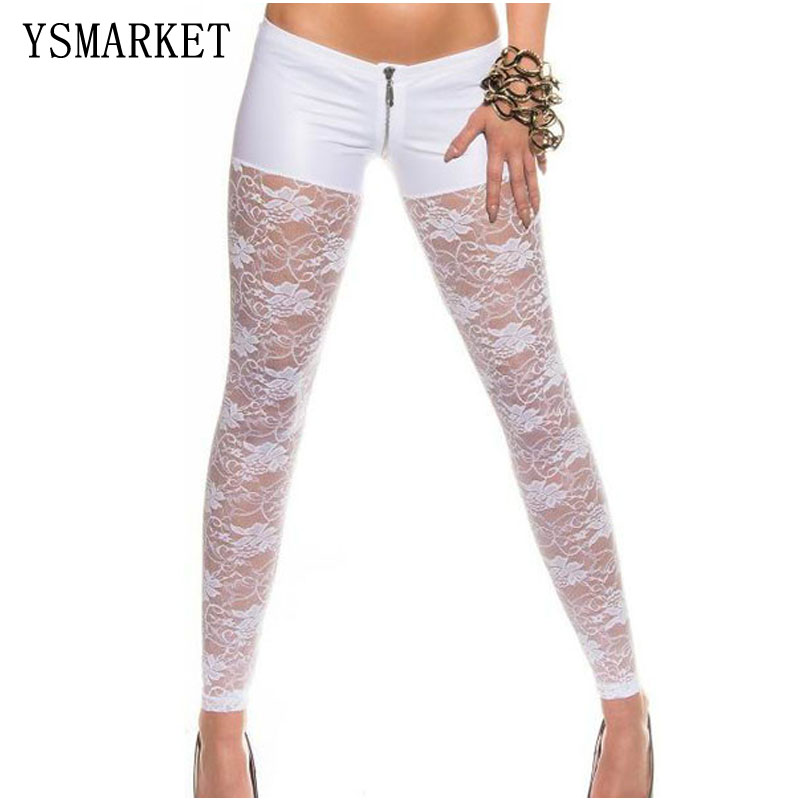 Hot Women Low Waist Sexy Transparent Pu Leather Lace Leggings Slim Fitness Pants Casual Hollow Out Female Pants Night Club Wear