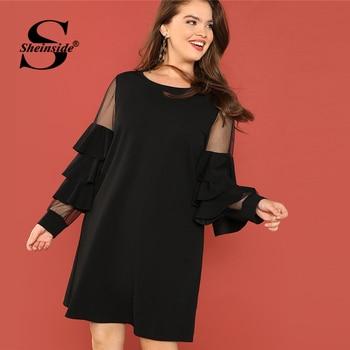 Sheinside Black Plus Size Tunic Midi Dress Women Sheer Mesh Insert Ruffle Trim Dresses 2018 Ladies Layered Sleeve Elegant Dress