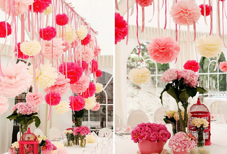 Home Engagement Decoration Ideas Part - 41: 10Pcs 20cm Tissue Paper Flower Pom Poms Wedding Engagement Party Home  Decoration Drop Shipping Wholesale On