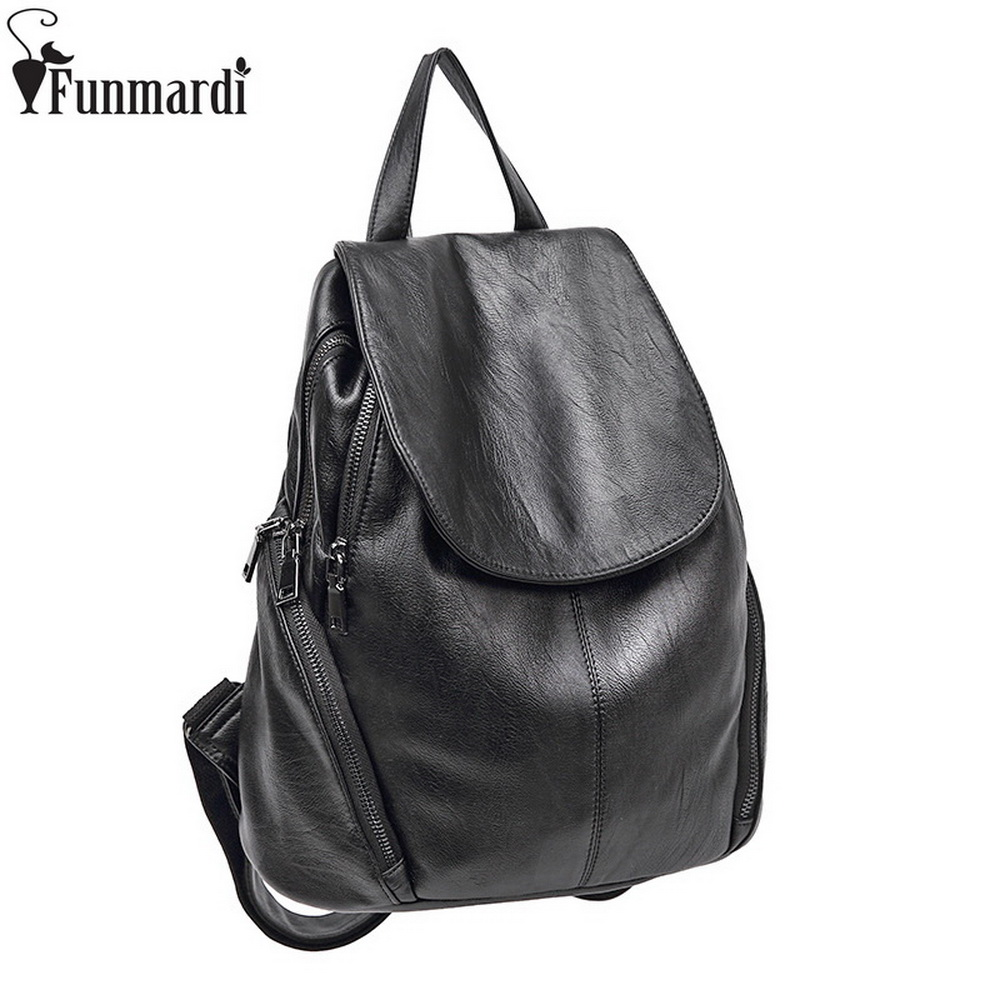 FUNMARDI Vintage Women Cover Zipper Backpack High Quality Leather Schoolbags Simple Travel Bags Fashion Black Backpacks