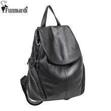 Funmardi Винтаж Для женщин чехол на молнии рюкзак высокое качество кожа ранцы простой Дорожные сумки модные черные Рюкзаки WLAM0046