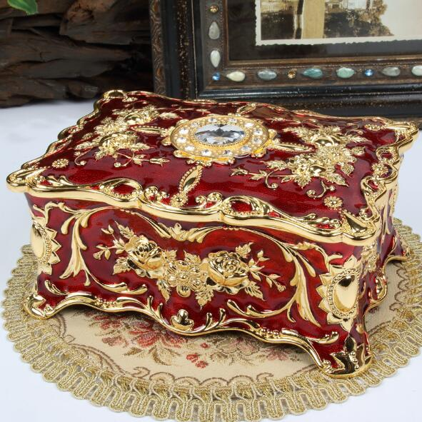 Grande taille Vintage fleur sculpté boîte à bijoux multi-couleurs émaillé avec des pierres décor collier pendentif anneaux cadeaux mallette de rangement