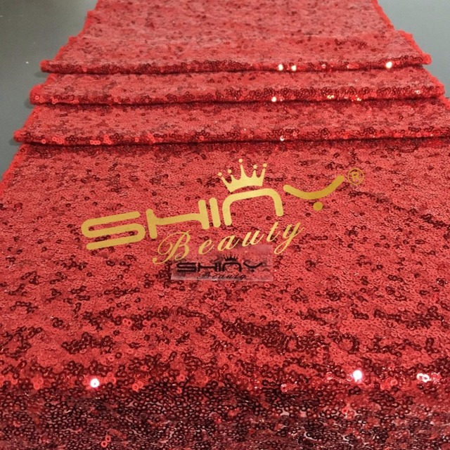ShinyBeauty 12 By 108Inch / 12 By 72Inch High Grade Red Sequin Table Runner  Wedding