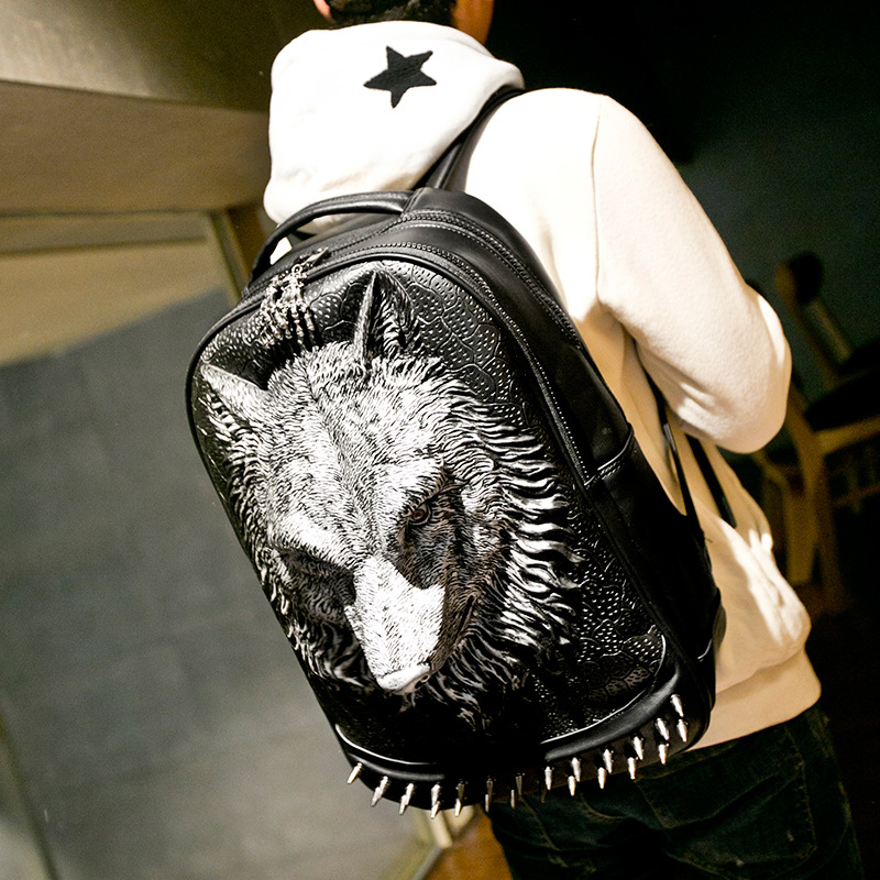 Creative pu shoulder bag male student bag 3D animal personality backpack rivet silicone wolf head bag animal head modeling silicone fondant mold