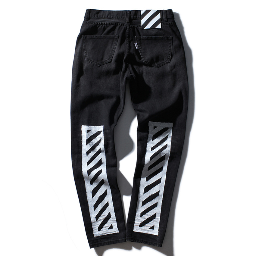 Aliexpress.com : Buy TOP quality off white jeans Ripped Denim Knee ...