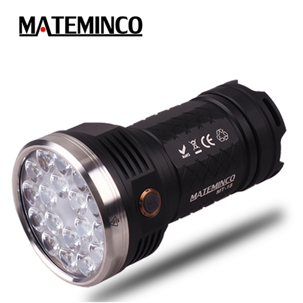 Super Bright Flashlight MATEMINCO MT18 18 CREE XP G3 Nichia 219C LED MAX 12000LM beam distance