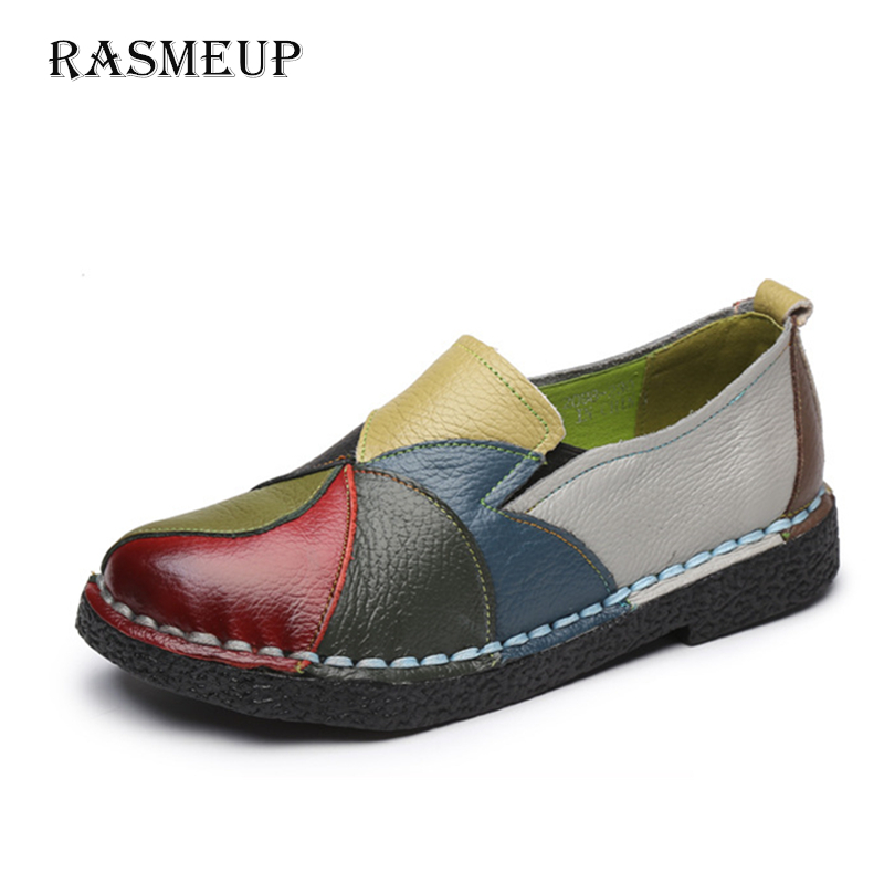 RASMEUP Genuine Leather Handmade Women's Flat Shoes 2018 Autumn Soft Soled Women Loafers Casual Woman Flats Slip On Moccasins 2018 autumn new vintage casual handmade shoes woman flats genuine leather fashion women shoes slip on women s loafers moccasins