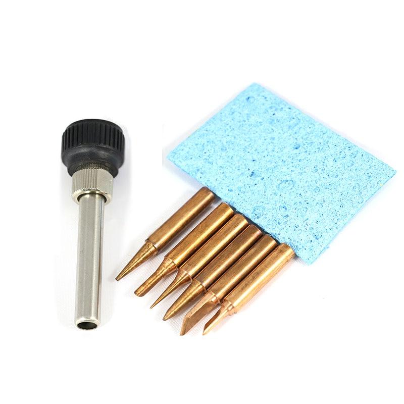 6PCS/Lot  Red Copper Pure Cupper Lead-Free Soldering Solder Iron Tips 900M-T For Hakko 936 Fx888/888D SAIKE 909D/852 CXG 936d