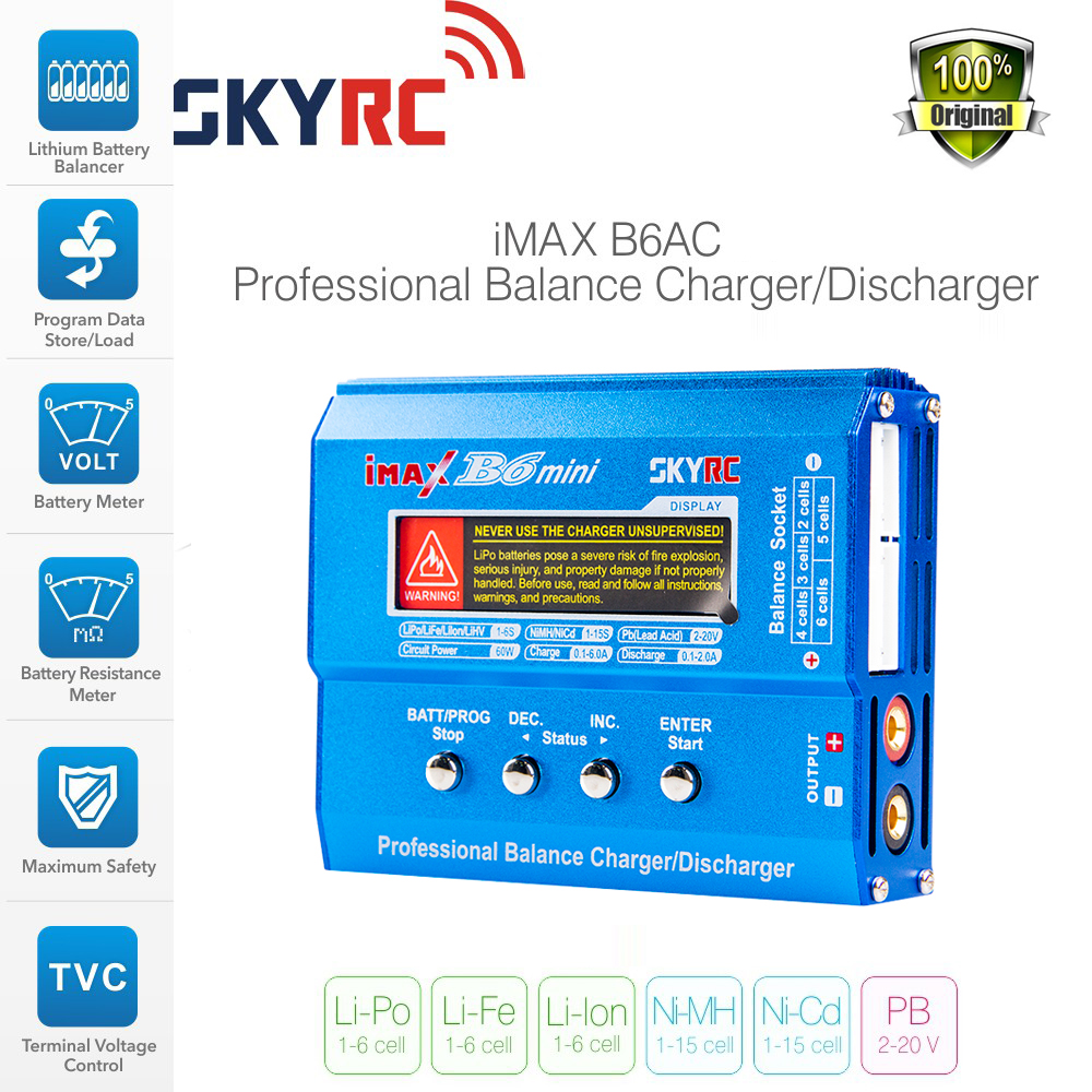 Newest Skyrc IMAX B6 mini Balance RC Charger/Discharger For Helicopte Quadcopter Re-peak NIMH/NICD Aircraft+Power Adpater skyrc d200 intelligent twin channel lcd ac dc high power dual balance charger discharger with soldering iron