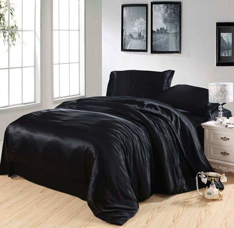 Black Silk Bedding Set Satin Super King Size Queen Full