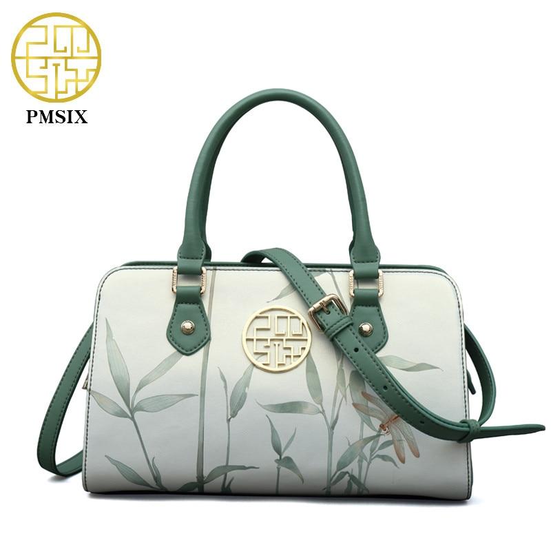 PMSIX 2018 новая сумочка Для женщин кожаная сумка листьев лотоса печати Винтаж женские сумки на плечо высокое качество дизайнерская сумка P120118