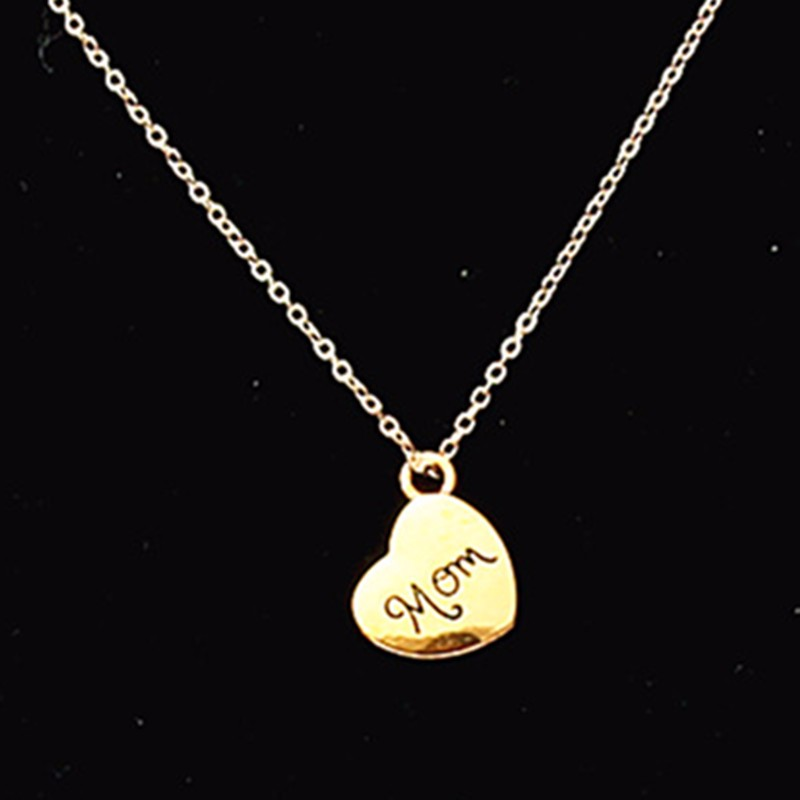 Bijoux Female Choker Necklaces Gold Color Letter Mom Love Heart Charms Pendant Necklace For Women Christmas Holiday Gift New image