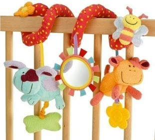 free shipping bed around baby bed bell music box, red honey bee baby car hanging, educational toys