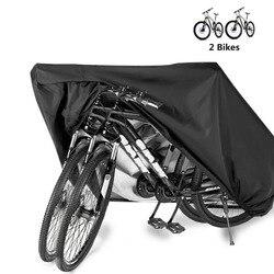 Capa de bicicleta de armazenamento à prova dwaterproof água ao ar livre elétrica capa chuva lona uv dustproof protetora para 2 bicicletas HT19-0012
