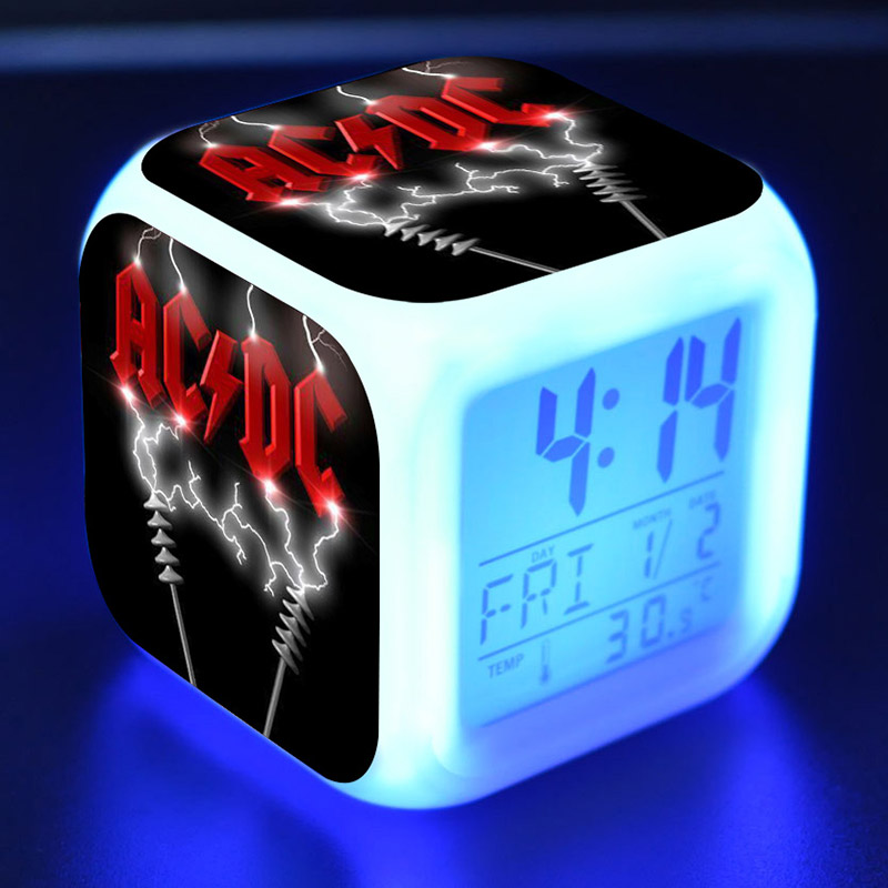 AC DC Cool Figure Juguetes Alarm Clock PVC Colorful Touch Light AC/DC Character Desk Watch Toys gift