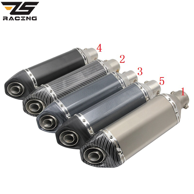 ZS Racing Motorcycle 51mm Akrapovic Exhaust Modified Scooter Exhaust Muffle With DB Killer For GY6 CRF 230 MSX 125 ATV Dirt Bike 51mm 61mm inlet motorcycle slip on exhaust escape moto stainless steel racing bike exhaust 600cc gy6 scooter dirt pit bike sc016
