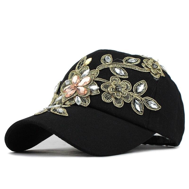 [FLB] Summer Baseball Cap For Women Flower Rhinestone Denim Baseball Cap Gorras Fall Hat For Womens Jean Caps Wholesale F244 2