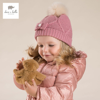 DB4120 DAVE BELLA Girls Knitted Cap Baby Hat With Fur