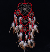 2016 Indian style big dream catcher hanging five love heart rings  feather pendant car red christmas decoration