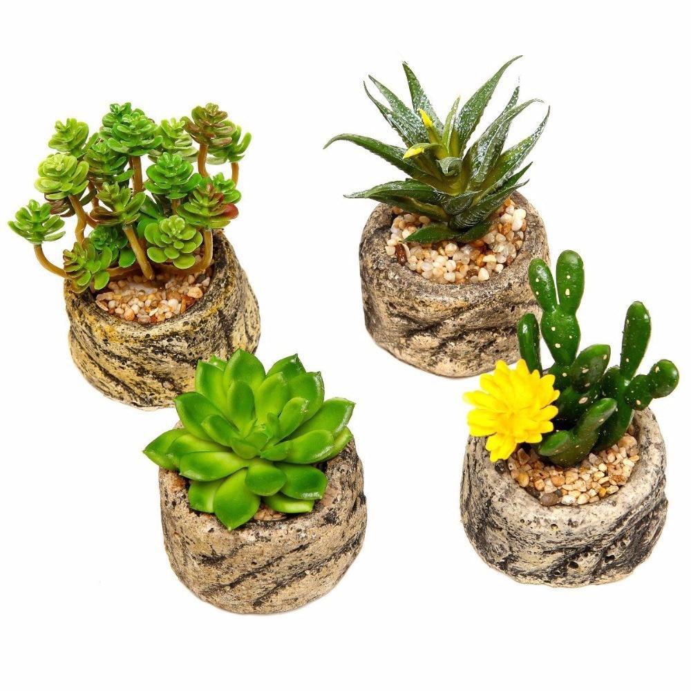 Indoor Plants Online #17: 1 PCS Small Potted Bonsai Fake Plants With Pot Set Flower Vase Stone Cement Pots Home
