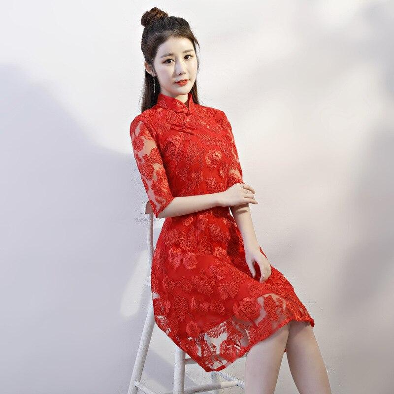 Rouge Xxl Vintage xs996 Dentelle Femmes Mini S Taille Chinois Robe Cheongsam L Sexy D'été Élégant Mince Qipao Style Court Xs9932 Xl M Partie RqBwIzd
