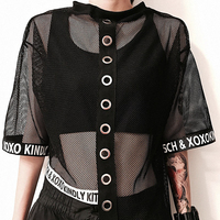 Sexy Blouse Women 2018 New Spring Summer Hollow Out Gauze Short Sleeve Sexy Mesh Fishnet Crop