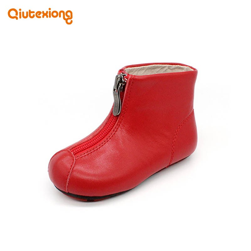 2018 New Kids Genuine Leather Waterproof Rain Boots For Girl Round Toe Zipper Comfort School Flats Martin Boots Girls Shoes kelme 2016 new children sport running shoes football boots synthetic leather broken nail kids skid wearable shoes breathable 49