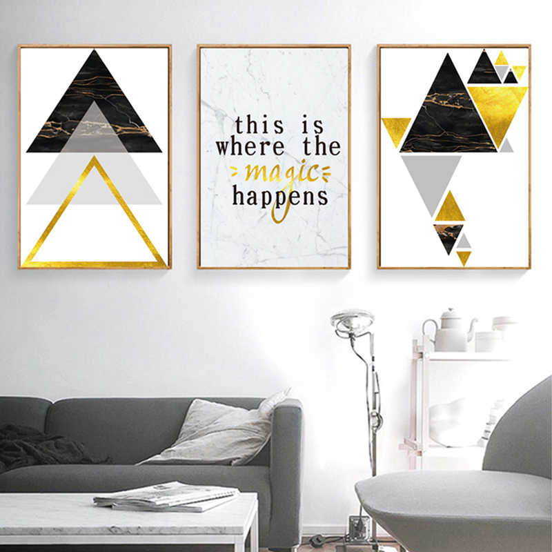 Sure Life Modern Abstract Geometry Triangles Canvas Paintings Magic Wall Art Pictures Posters And Prints Living Room Decor