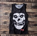 Hombres tanques tops chaleco del cráneo de la vendimia joven promoción camiseta hiphop ocasional flojo más el tamaño de la calle skateboard moda fresca