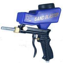 Гравитационная подача, портативная пневматическая абразивная шлифовальная пушка с запасным наконечником, ручная пескоструйная пушка синего цвета