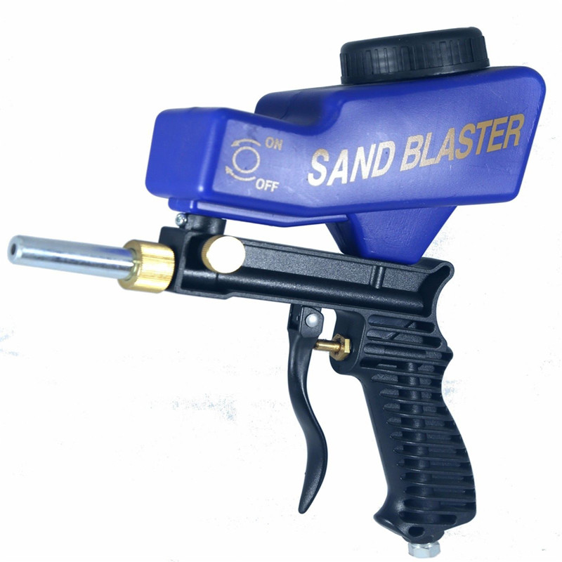 Gravity Feed Portable Pneumatic Abrasive Sand Blaster Gun With Spare Blaster Tip Hand Held Sandblasting Gun Blue Color