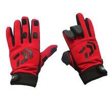 Daiwa зимние противоскользящие рыболовные перчатки х/б 3 пальца