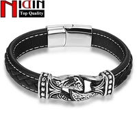 2017 NIDIN Vintage Stainless Steel Magnetic Clasps Genuine Leather Bracelets Rope Double Layer Men Women Leather
