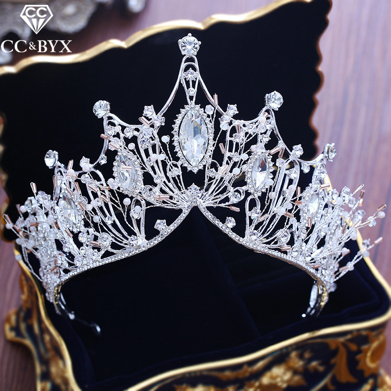 CC big tiaras and crowns cz engagement wedding hair accessories for bride fine jewelry high quality elegant luxury shine XY237