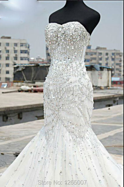 Fashion Sweetheart Sparkly Beaded Diamond Glitter Rhinestones Crystal Long Train Mermaid Wedding Dresses Gown 2016 Bridal