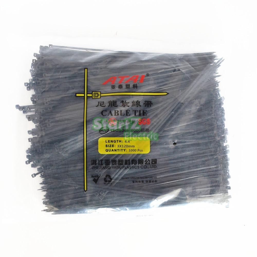 122bb5b8cf164 1000 sztuk 3X120mm Czarny Samo Plastikowe Blokady Nylonowe Opaski Kablowe  Zip Drutu