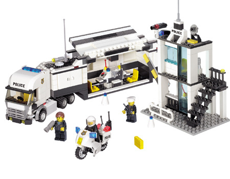Model building kit compatible with lego city Police Station Truck 3D font b blocks b font