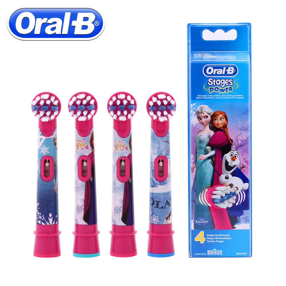 4pc/Pack Oral B Children Electric Brush Heads Frozen Replacement Rotation Braun Vitality Toothbrush Head Oral Hygiene Brush Head зубная щётка braun oral b frozen vitality kids голубой