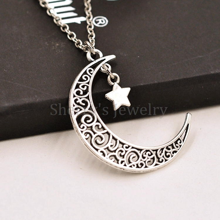 10pcs a lot antique silver plated alloy crescent moon and star 10pcs a lot antique silver plated alloy crescent moon and star pendant necklace for girls and women in pendant necklaces from jewelry accessories on aloadofball Images
