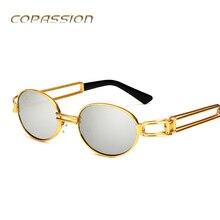 Marco de Metal Oval gafas de sol Mujeres Hombres Marca de Lujo steampunk gafas oculos uv400 retro Gafas de conducción gafas gafas de sol