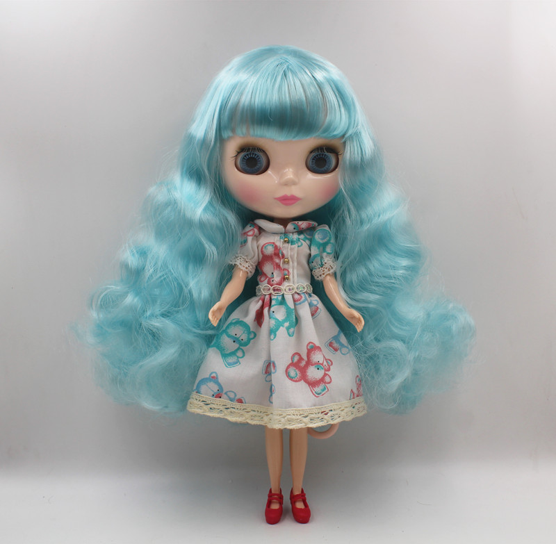Blyth doll Sky blue, curly hair, naked doll, general body, 1/6,7 joint body, gift toy, can change hairstyle. ...