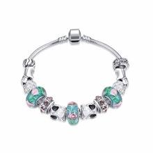 2016 Fashion Women Bracelet Unique European Retro Lotus glass beads Silver Plated Bracelets&Bangles Jewelry Famous Gift Pulseras
