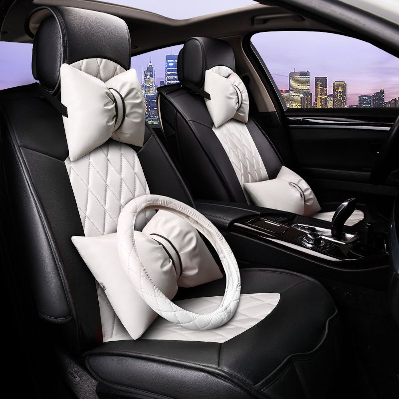 girl 39 s woman 39 s cute white brand fashion pu leather pink universal car seat cover set in. Black Bedroom Furniture Sets. Home Design Ideas