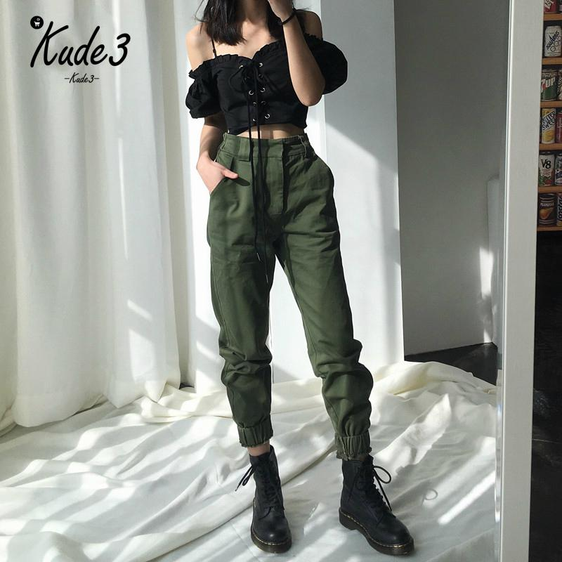 High Waist   Pants   Camouflage Loose Joggers Women   Pants   Streetwear Punk Black Cargo   Pants   Women   Capris   Trousers 8446