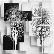 3D Wallpaper for Walls 3d Non Woven Silk Wallpaper – Simple Black and White Tree