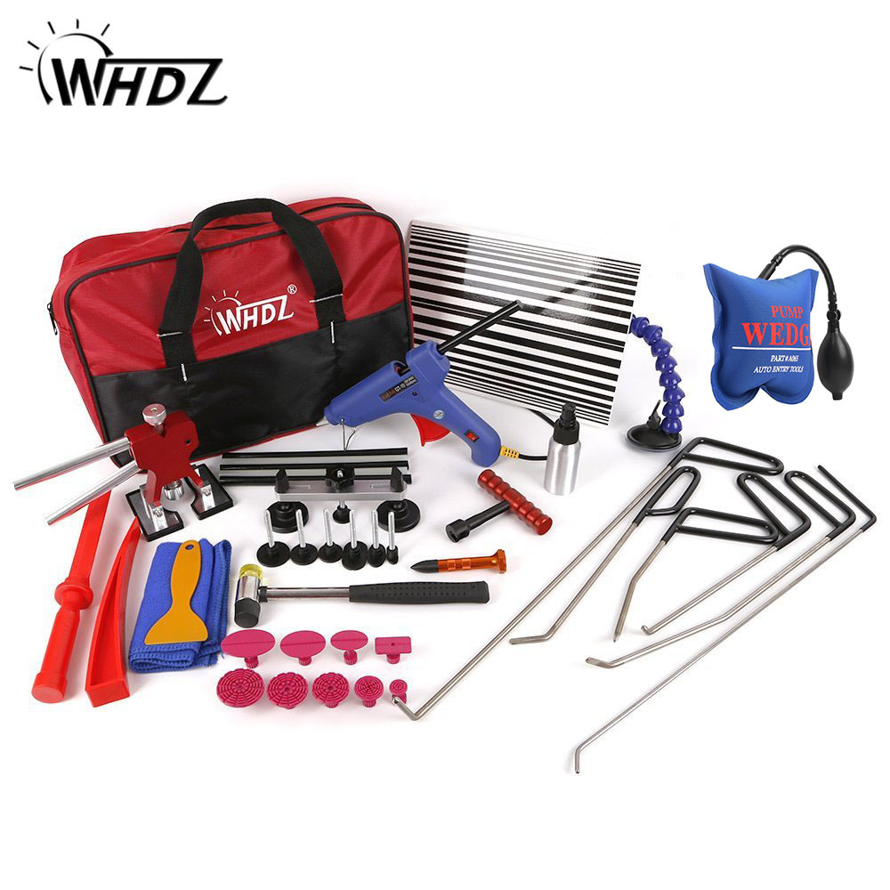 WHDZ Auto PDR tools paintless dent repair set PDR Rods Dent Hammer Gule Gun Pdr Line Board Car repair kits with repair wedge