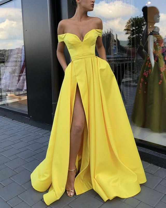 Yellow   Evening     Dresses   2019 with Pockets A-line V-neck Off Shoulder Slit Islamic Dubai Saudi Arabic Long Elegant   Evening   Gown