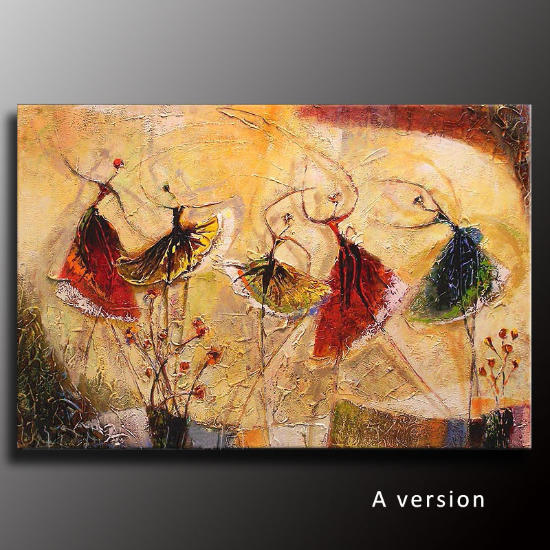 Handpainted Modern Abstract Oil Painting on Canvas Textured Ballet ...