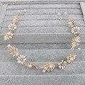 Vintage Baroque Styles Gold Leaf White Flower Crystals Pearls Wedding headband hair vine bridal party headpiece hair accessories